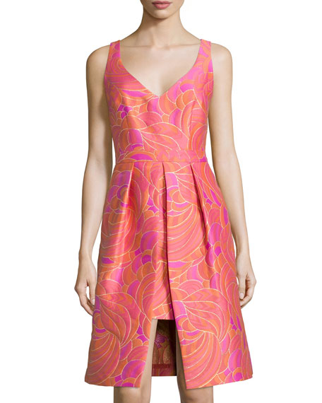 Trina Turk Sleeveless Vented Floral Jacquard Dress