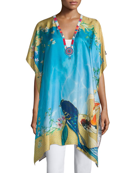 Johnny Was Collection Koi-Print V-Neck Poncho, Multi Colors