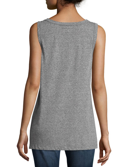 Round-Neck Muscle Tee, Heather Gray