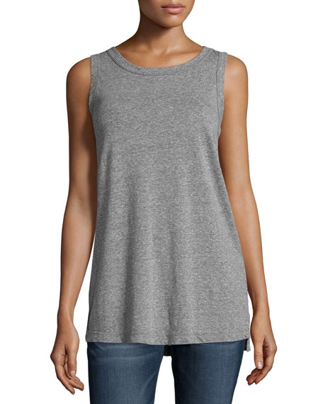 Current/Elliott Round-Neck Muscle Tee, Heather Gray