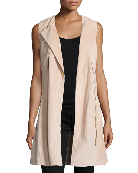 Belted Suede Trench Vest, Blush Cheap