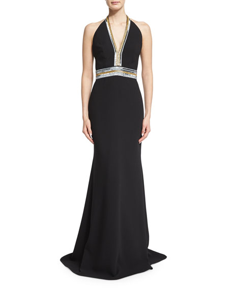 Carmen Marc Valvo Sleeveless V-Neck Embellished Column Gown