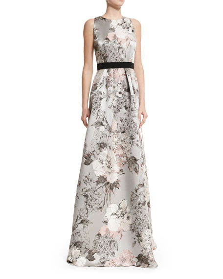 Carmen Marc Valvo Sleeveless Floral-Print Gown