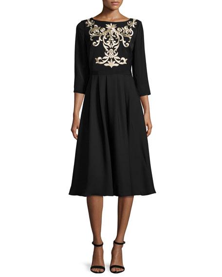 Ted Baker London Shamari Embroidered-Bodice Dress, Black