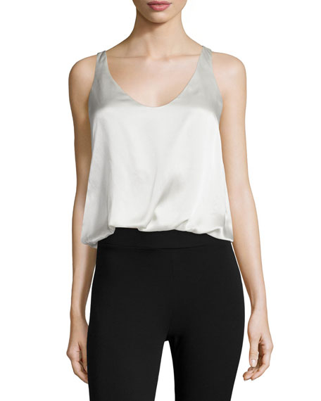 3.1 Phillip Lim Silk Twisted-Hem Tank, Salt