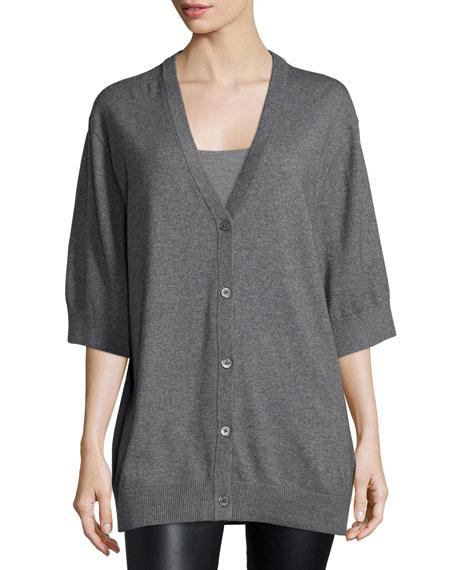 Michael Kors Short-Sleeve Button-Front Cardigan, Banker Melange