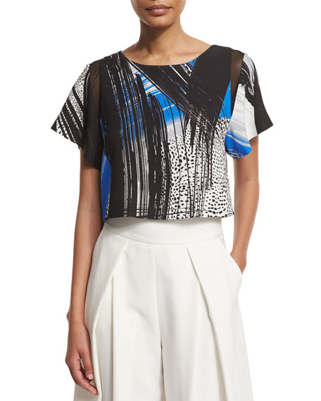 Milly Short-Sleeve Mesh-Inset Printed Top, Sapphire