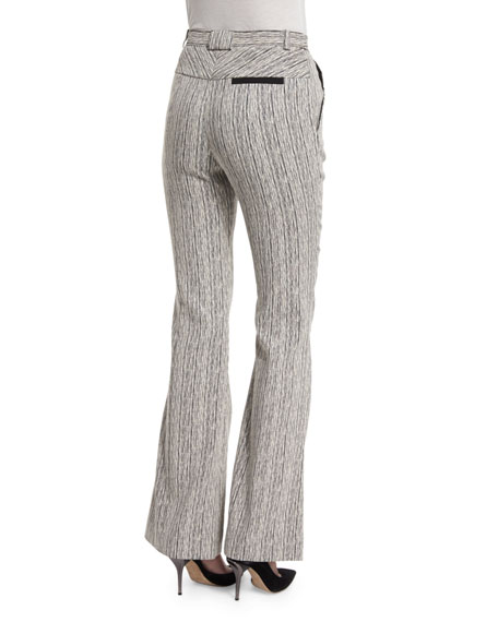 Tweed High-Rise Flare Fantasy Pants, Marine/Ecru