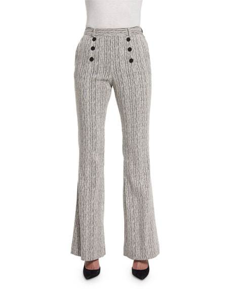Carven Tweed High-Rise Flare Fantasy Pants, Marine/Ecru