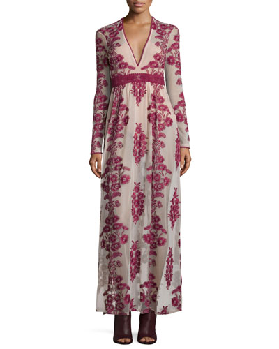 Temecula Floral-Embroidered Maxi Dress, Wine