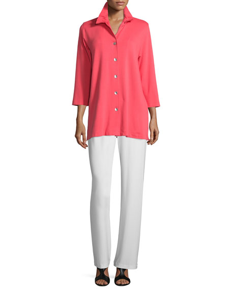 Ruched-Collar 3/4-Sleeve Shirt