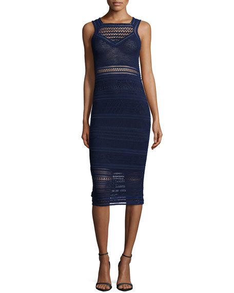 Ohne Titel Sleeveless Crochet-Knit Sheath Dress, Navy