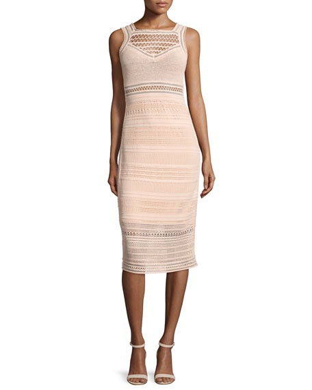 Ohne Titel Sleeveless Crochet-Knit Midi Sheath Dress, Blush