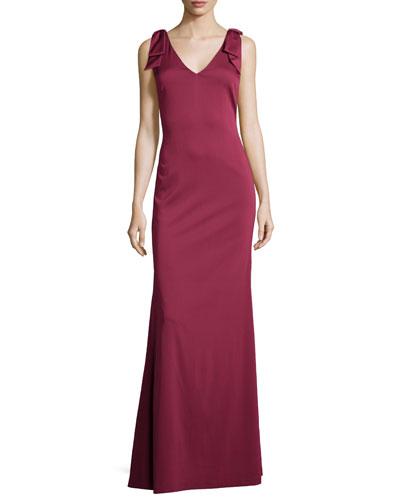 Sleeveless V-Neck Slim Gown, Berry