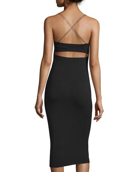Strappy Stretch Midi Dress, Black
