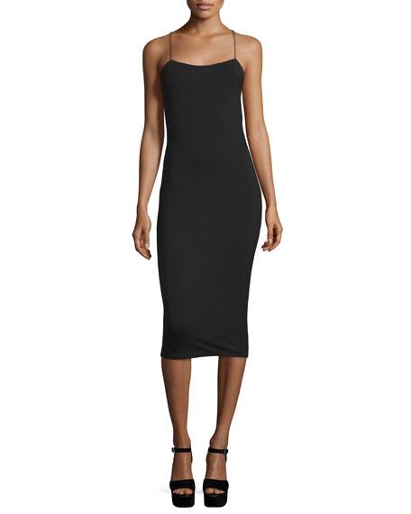 T by Alexander Wang Strappy Stretch Midi Dress,