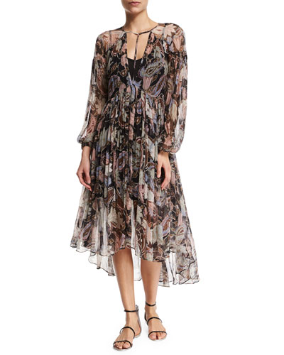 Henna Long-Sleeve Dress W/Slip, Black Floral