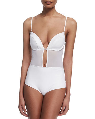 Ticking Bonded Tulip One-Piece Swimsuit