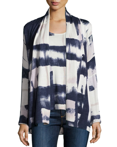 Neiman Marcus Cashmere Collection Blocked Ink Cashmere Cardigan