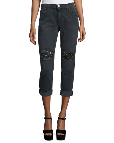 The Fling Embellished Cropped Jeans, Nighthouse