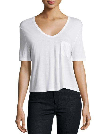 Classic Cropped Tee w/ Pocket, White