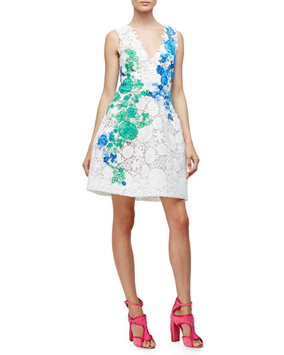 Monique Lhuillier Sleeveless Lace Applique Party Dress, White
