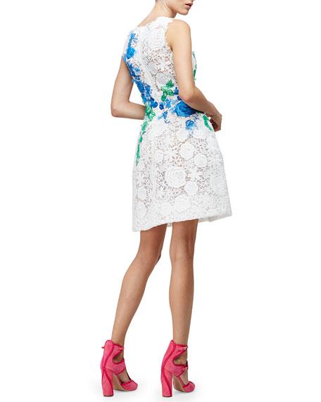 Monique Lhuillier Sleeveless Lace Applique Party Dress, White