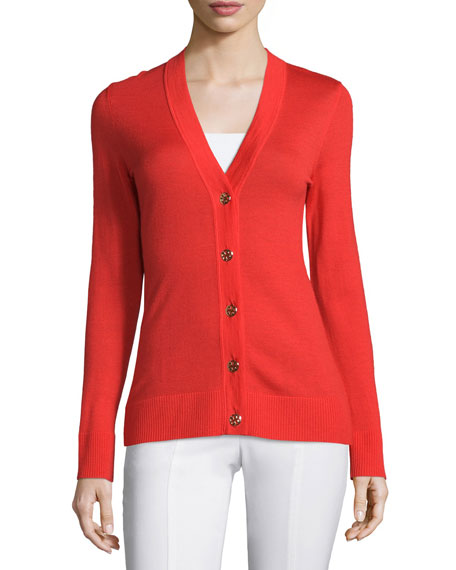Tory Burch Simone Button-Front Cardigan, Spark