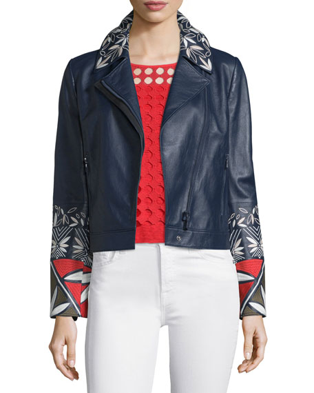 Tory Burch Pottery-Embroidered Leather Moto Jacket, Tory Navy