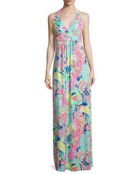 Seaview Printed Halter Maxi Dress
