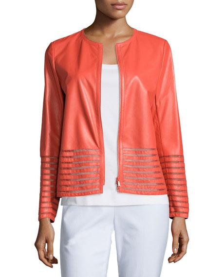 Lafayette 148 New York Aisha Leather Jacket with Illusion Trim