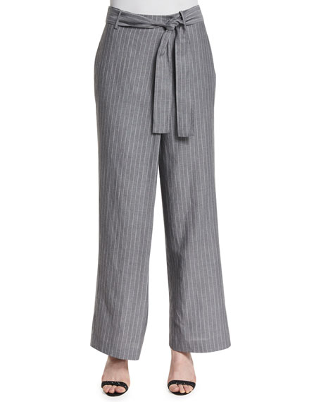 Lafayette 148 New York Eldridge Wide-Leg Striped Pants
