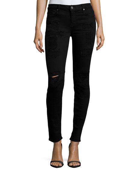 RtA Icon Skinny Ankle Jeans, Black Lash