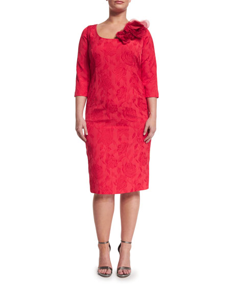 Dylan Sleeveless Floral Jacquard Sheath Dress, Plus Size