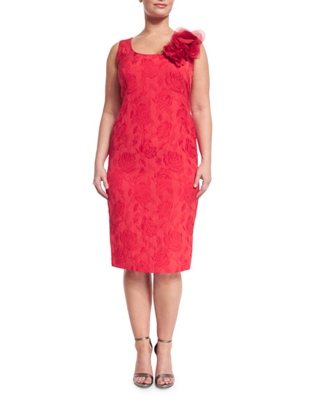 Marina Rinaldi Dylan Sleeveless Floral Jacquard Sheath Dress,