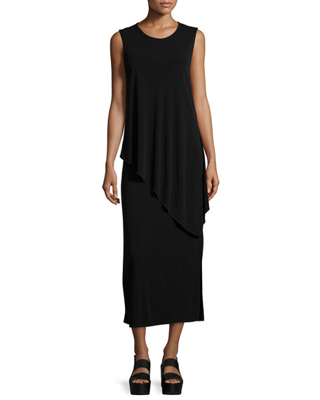 Joseph Sleeveless Layered Asymmetric Jersey Dress, Black