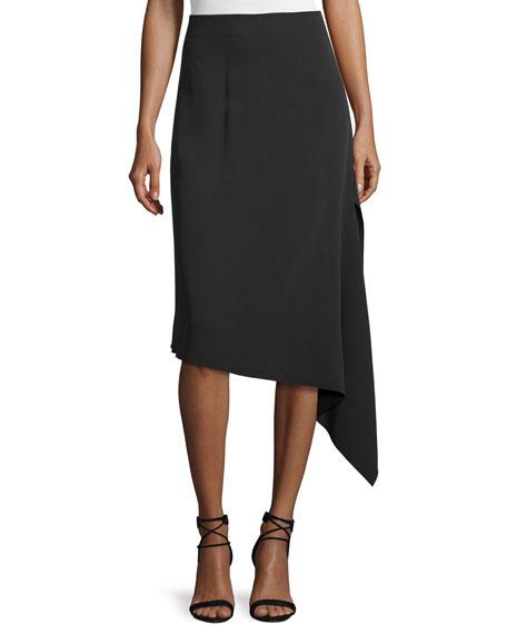 Joseph Asymmetric Crepe Bias-Cut Skirt, Black