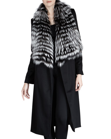 Sofia Cashmere Feathered Fur Coat