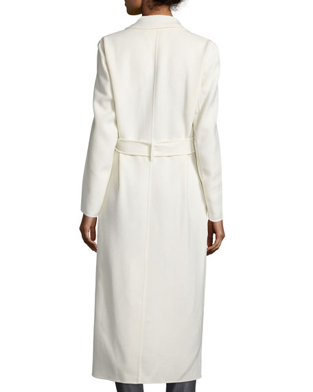 Wool-Blend Long Wrap Coat, Off White
