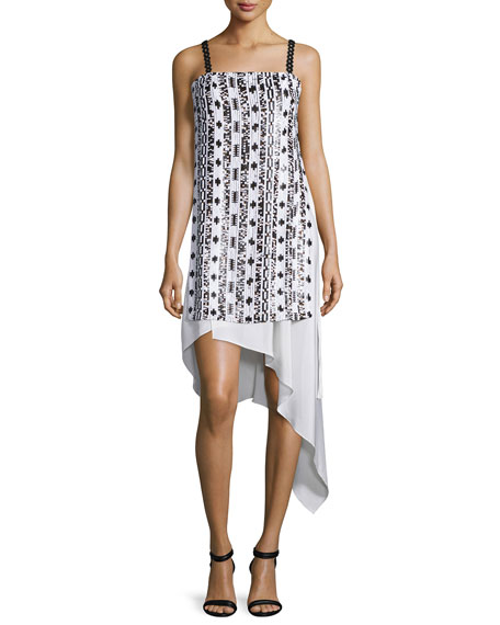 3.1 Phillip Lim Sleeveless Bohemian Sequin Dress, White/Copper