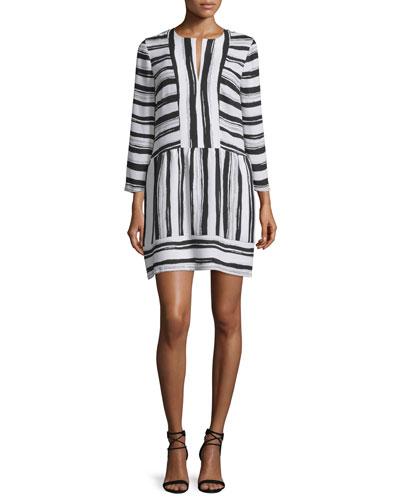 Annora Half-Sleeve Striped Dress, Black/White