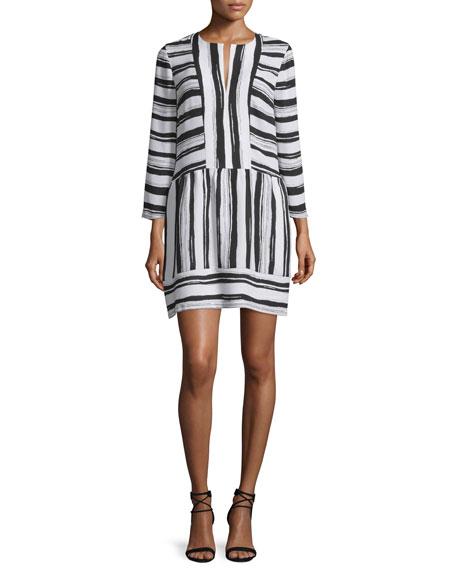 BCBGMAXAZRIA Annora Half-Sleeve Striped Dress, Black/White