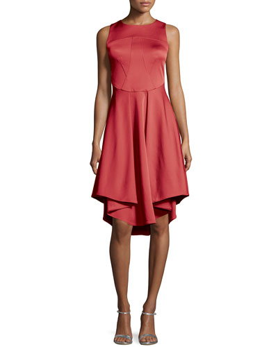 Sleeveless Ruffle-Pleated Cocktail Dress, Barberry