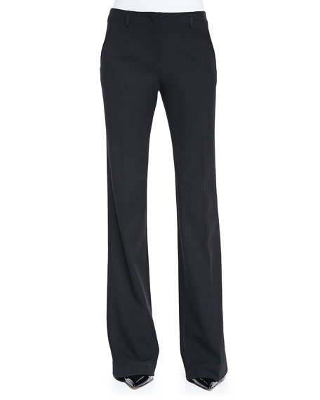 Jason Wu Stretch Wool Boot-Cut Pants, Black