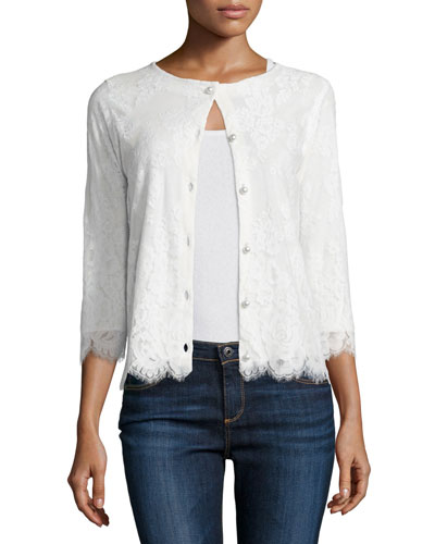 3/4-Sleeve Lace Cardigan, Ivory Onsale