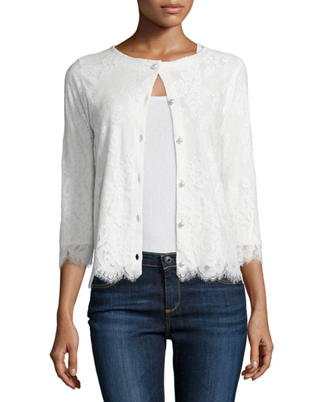 Michael Simon 3/4-Sleeve Lace Cardigan, Ivory