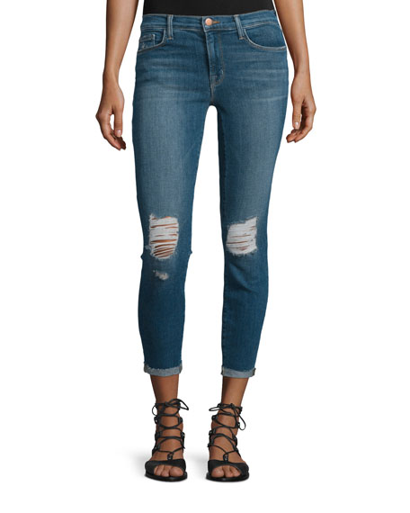 J Brand Breathless Mid-Rise Distressed Cropped Jeans, Blue