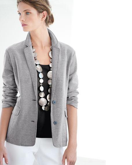 Two-Button Pique Boyfriend Jacket, Petite