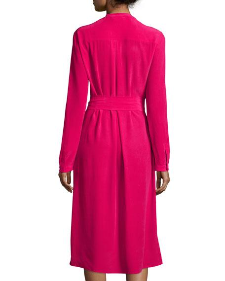 Long-Sleeve Belted Silk Shirtdress, Petite