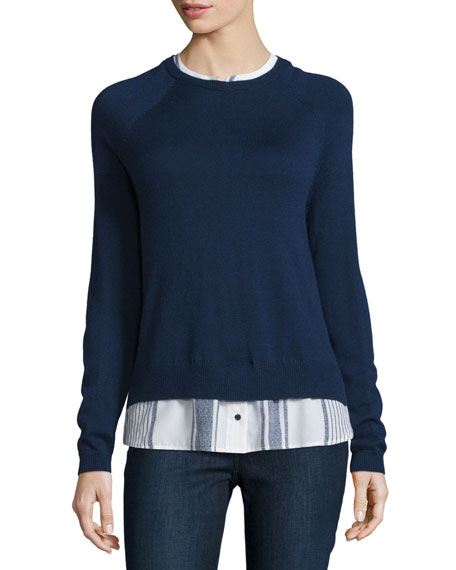 Joie zaan sweater shirt combo top neiman marcus for Sweater and dress shirt combo
